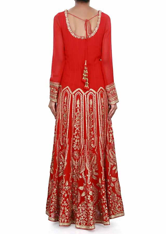 Blood Red anarkali suit in zari and sequin embroidery only on Kalki