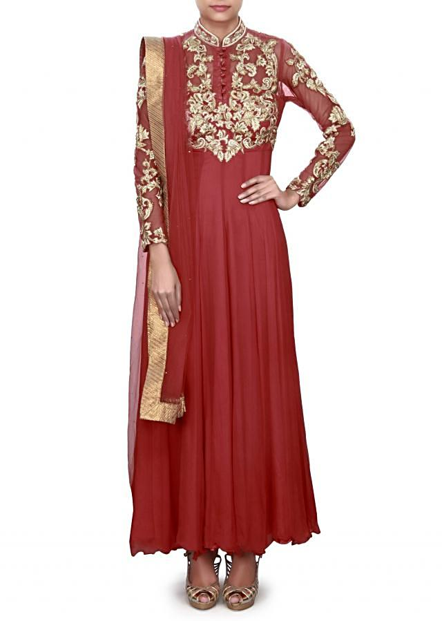 Red anarkali suit adorn in embroidered bodice only on Kalki