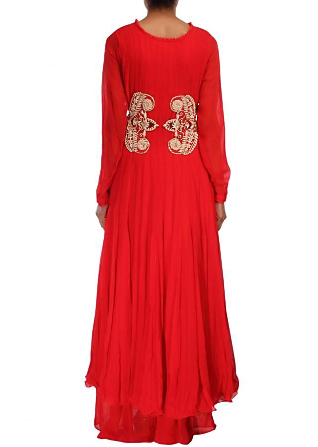 Red anarkali suit adorn in french knot embroidery only on Kalki
