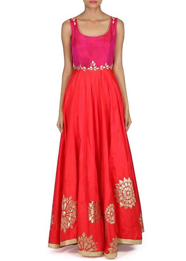 Red anarkali suit adorn in gotta patch embroidery only on Kalki