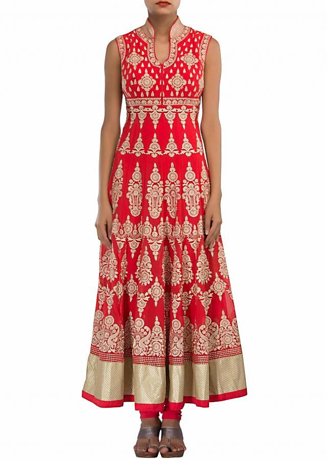 Red anarkali suit adorn in thread embroidery only on Kalki