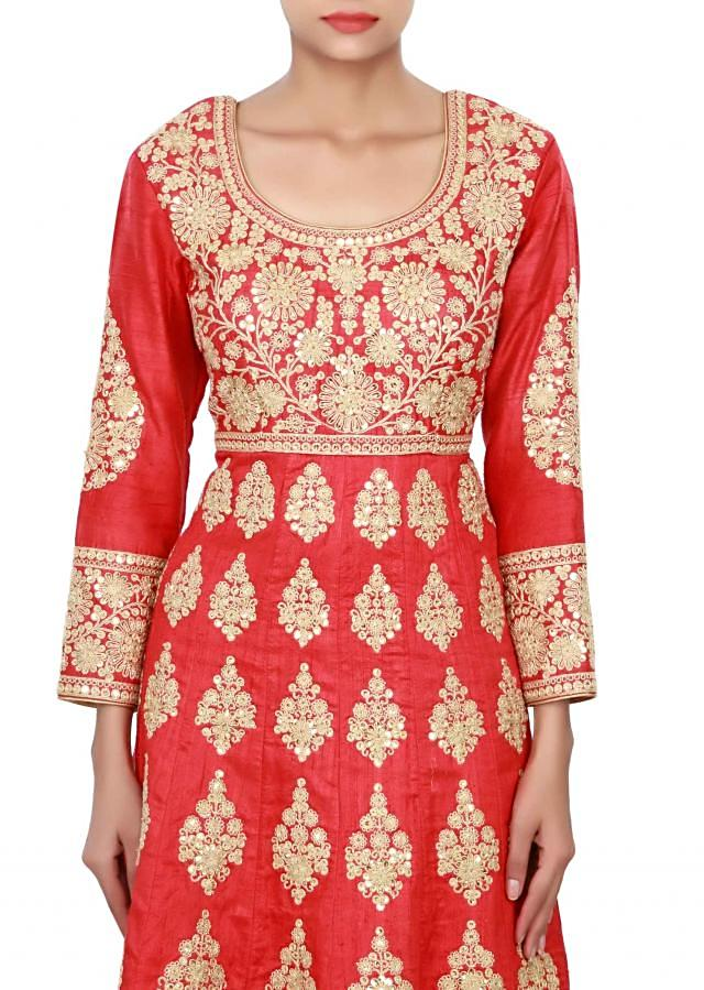 Red anarkali suit adorn in zari and sequin butti only on Kalki