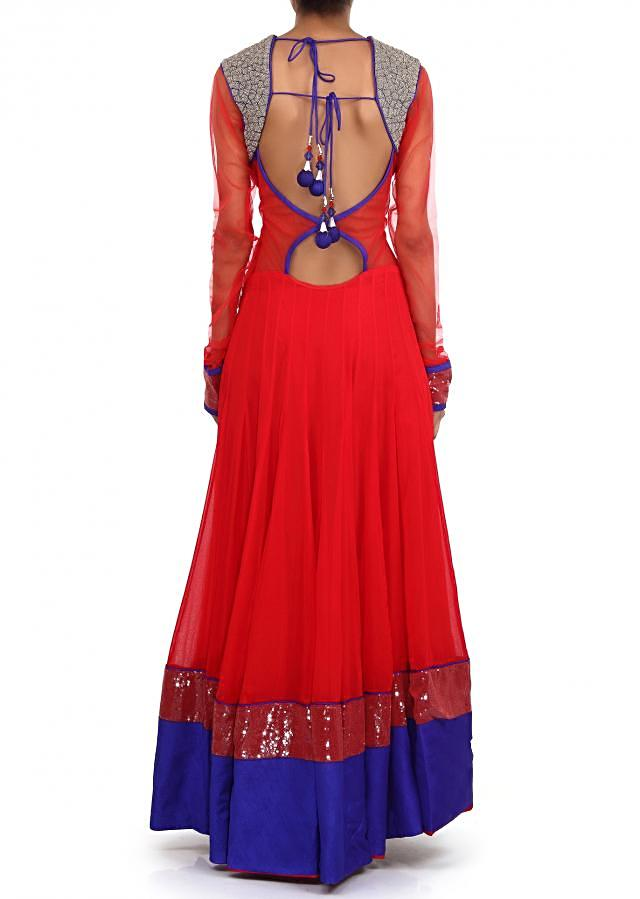 Red anarkali suit adorn in zari and sequin embroidery only on Kalki