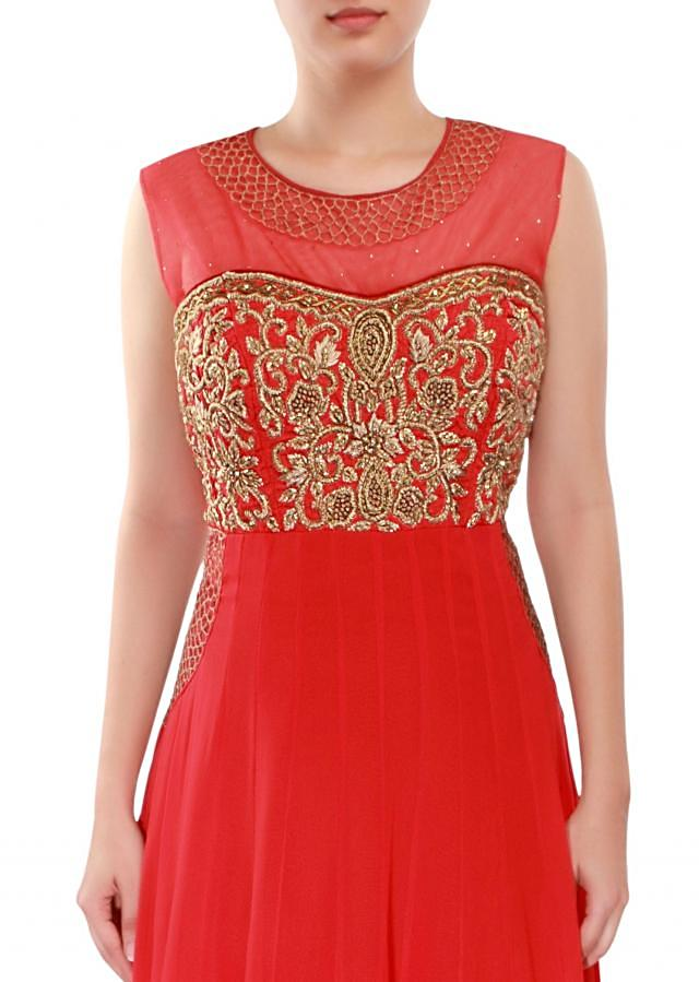Red anarkali suit adorn in zari French knot embroidery only on Kalki