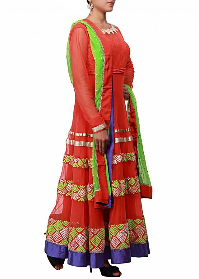 Red anarkali suit embellished in resham and gotta patti work only on Kalki