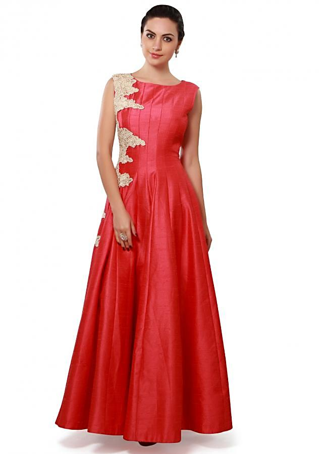 Red anarkali suit embellished in thread and pearl embroidery only on Kalki