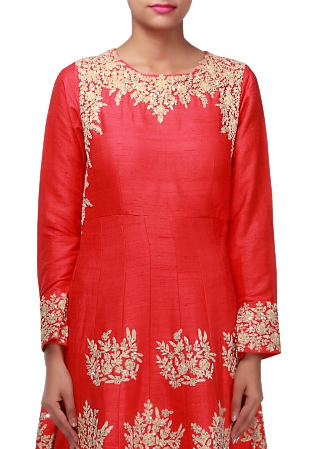 Red anarkali suit embellished in thread and sequin embroidery only on Kalki