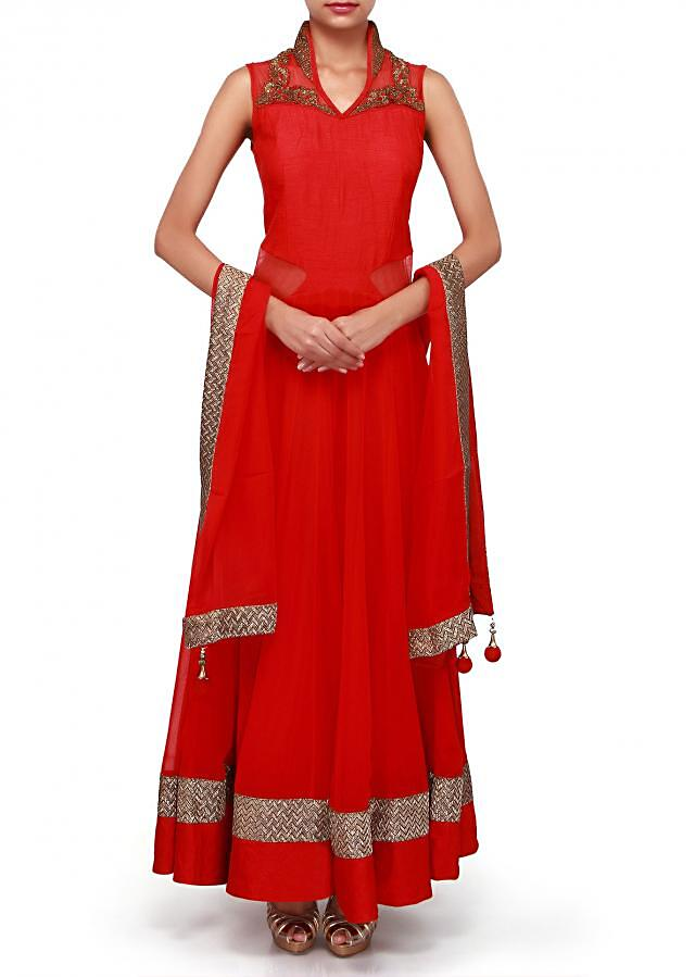 Red anarkali suit embellished in zari and sequin embroidery only on Kalki
