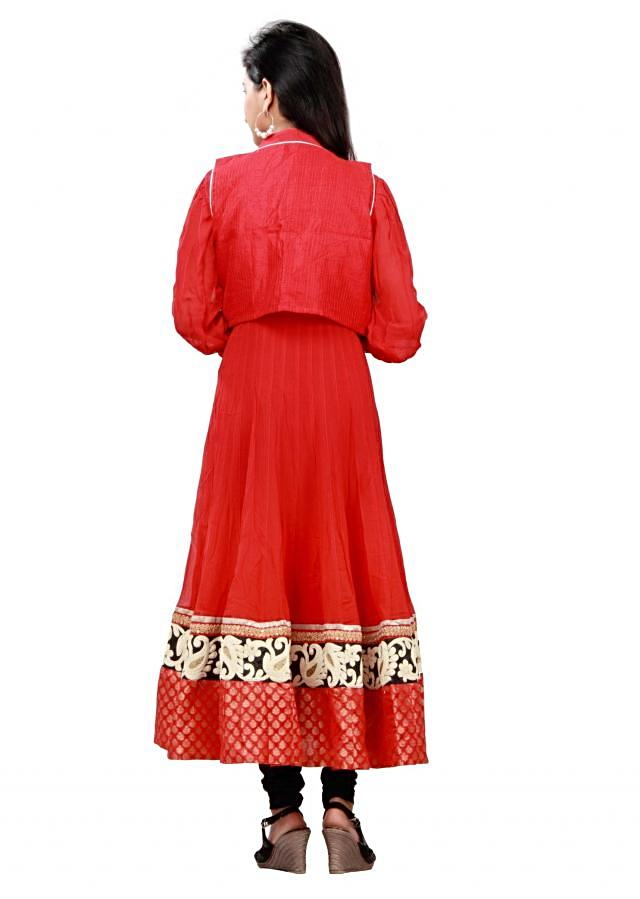 Red anarkali suit is with embroidered jacket by Aadya