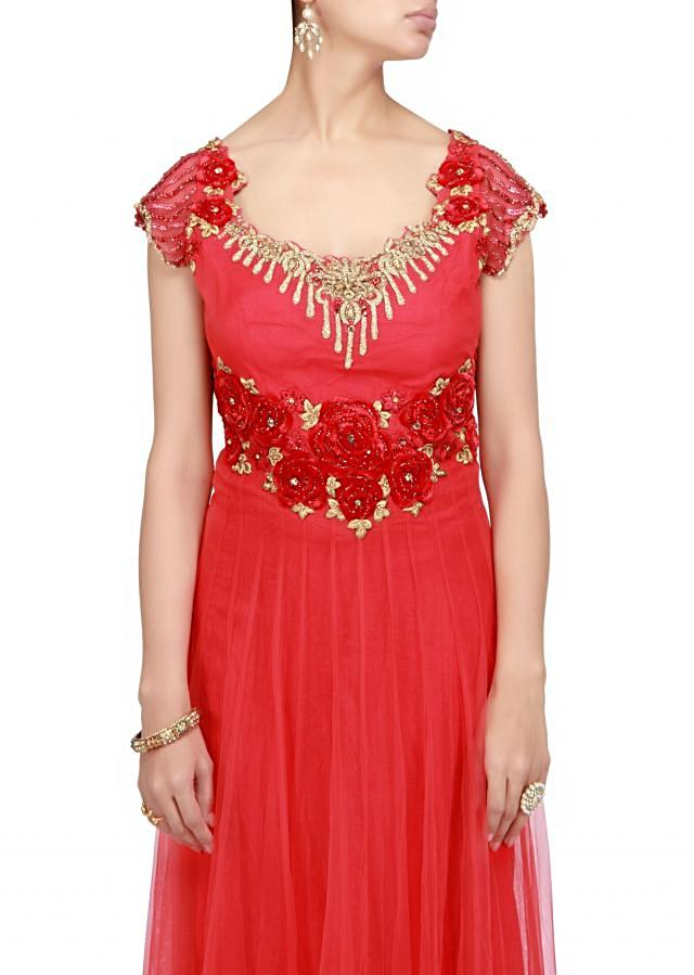 Red anarkali suit with embroidered bodice