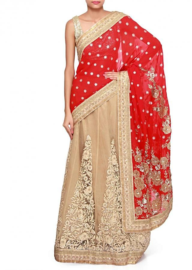 Red and beige lehenga saree adorn in thread and zari embroidery only on Kalki