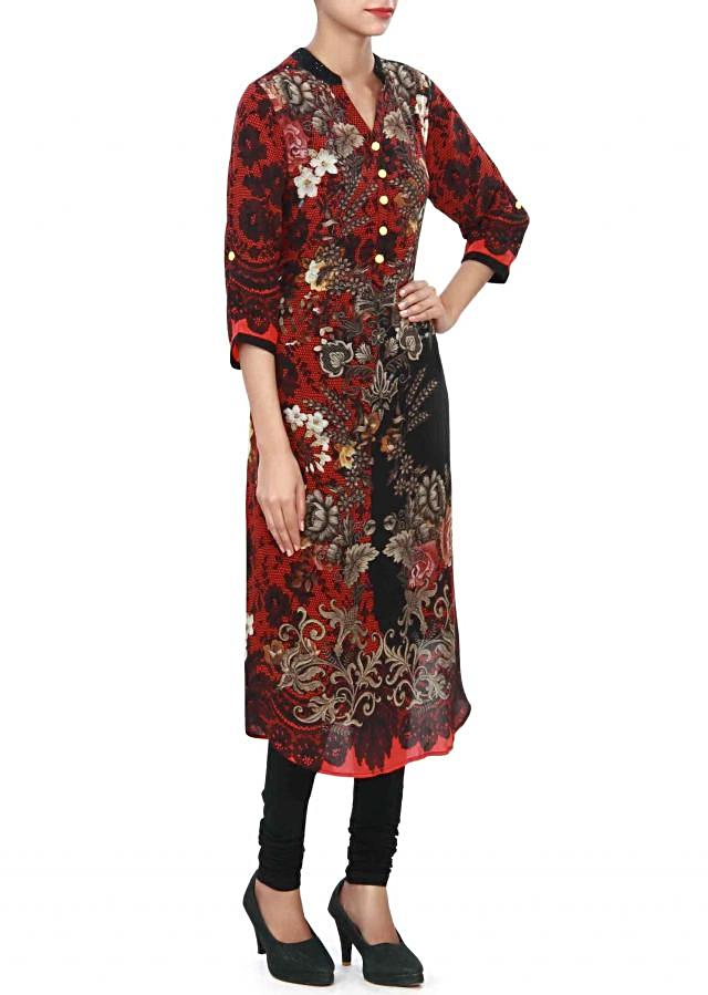 Red and black kurti adorn in digital print and fancy buttons only on Kalki