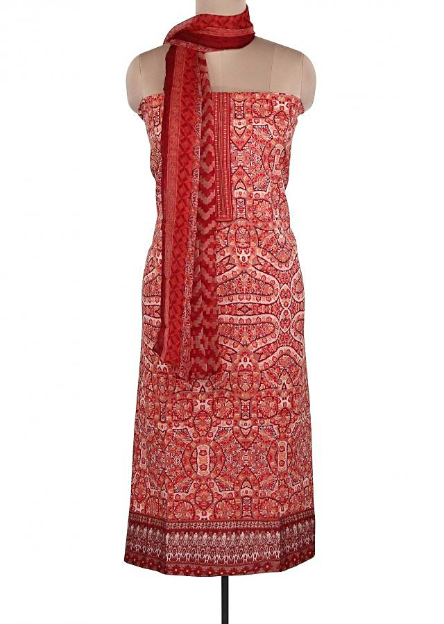 Red And Cream Unstitched Suit Featuring With Embroidered Placket Only On Kalki