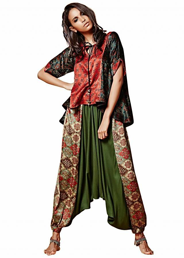 Red and green tunic in Moroccan print with aladdin pants only on Kalki