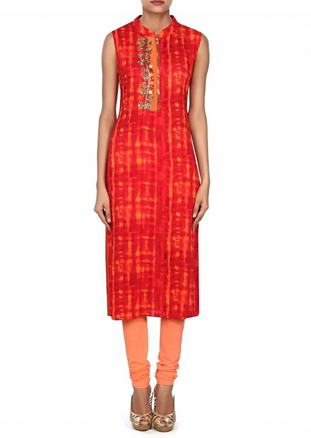 Red and peach shaded kurti enhanced in zardosi and stone only on Kalki