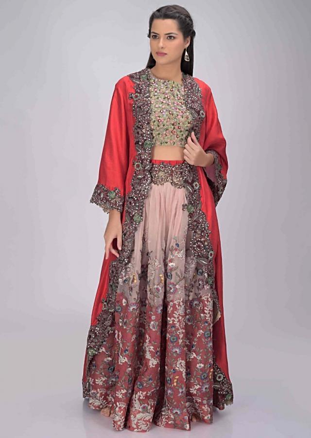 Red And Pink Lehenga In Embroidered Silk With Red Jacket Online - Kalki Fashion