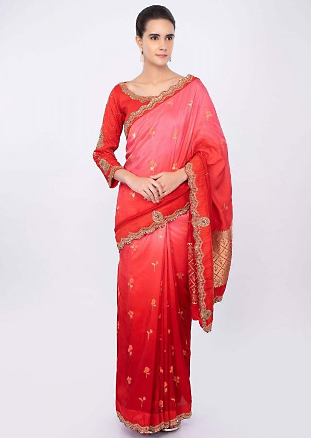 Red And Pink Saree In Shaded Silk With Weaved Buttis Online - Kalki Fashion