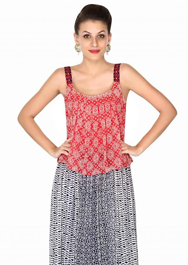 Red and white dress enhanced in print only on Kalki