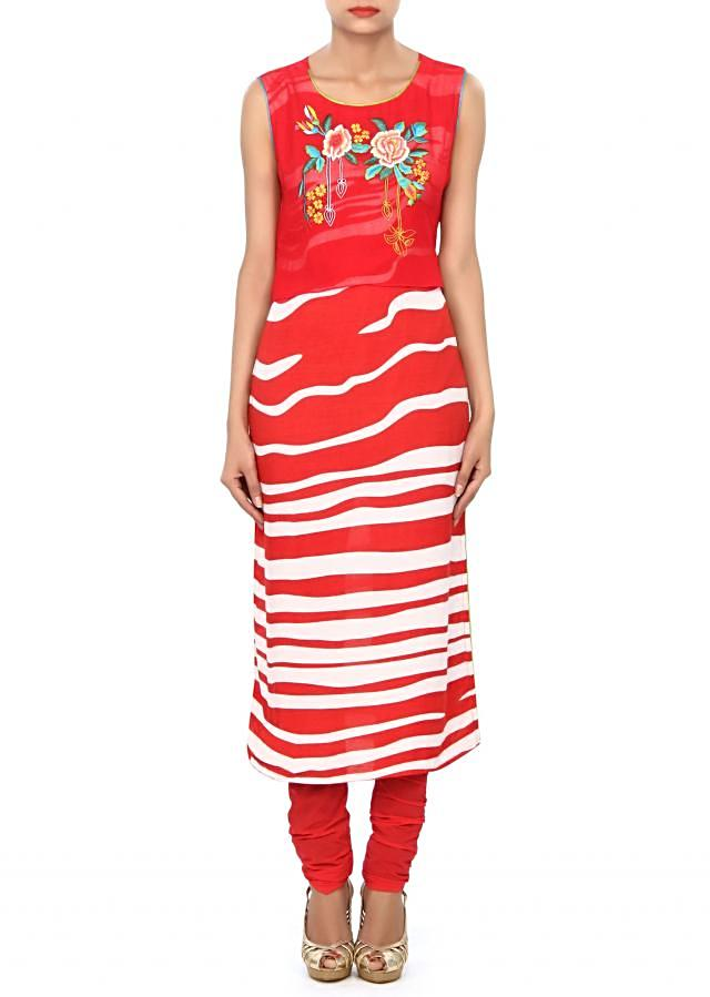 Red and white kurti embellished in resham embroidery only on Kalki