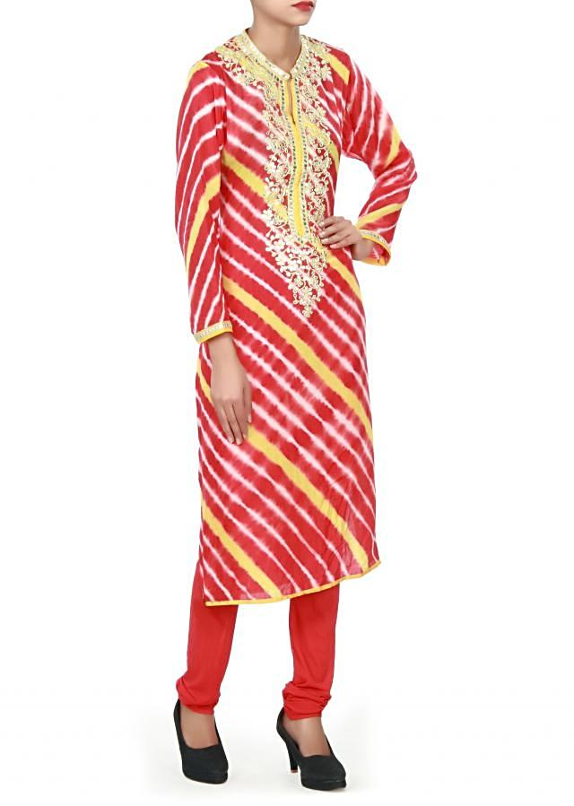 Red and yellow kurti adorn in gotta patch work neckline only on Kalki