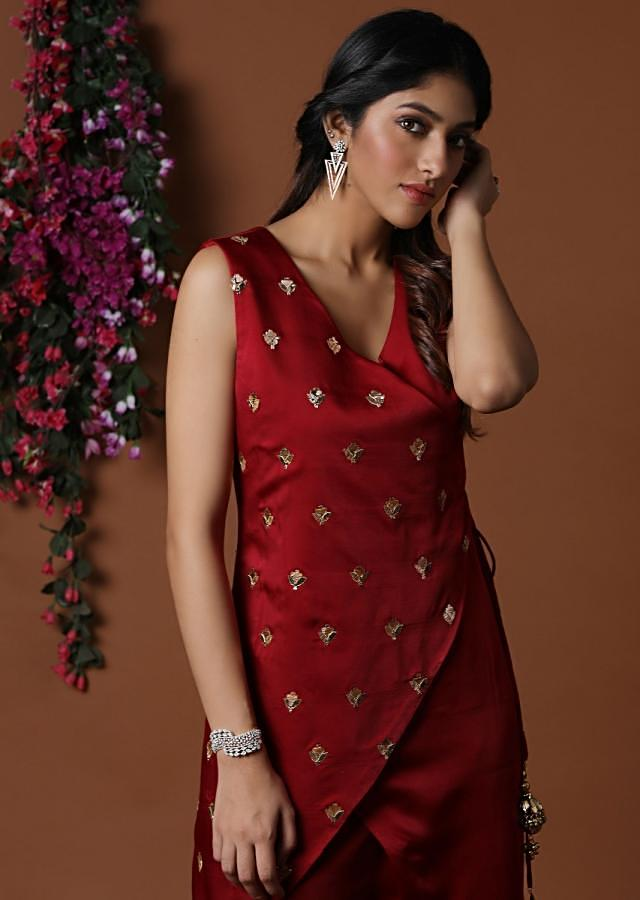 Red angarkha Kurta Wide Leg Pants Online - Kalki Fashion