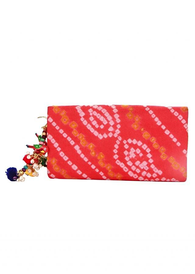 Red bandhani clutch with beads chain only on Kalki