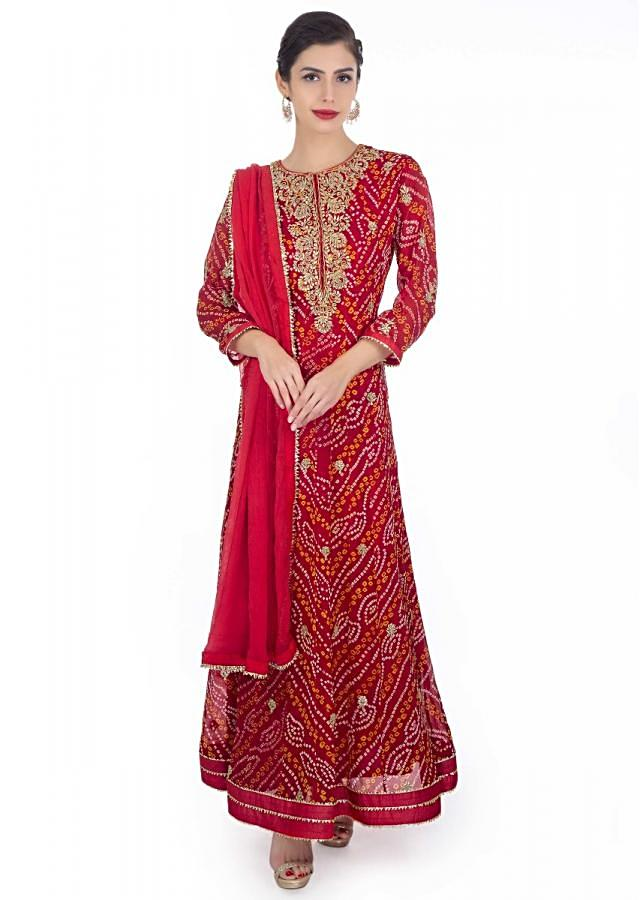 Red Anarkali Suit In Bandhani Georgette Paired With Red Chiffon Dupatta With Lace Border -Us 18 Online - Kalki Fashion