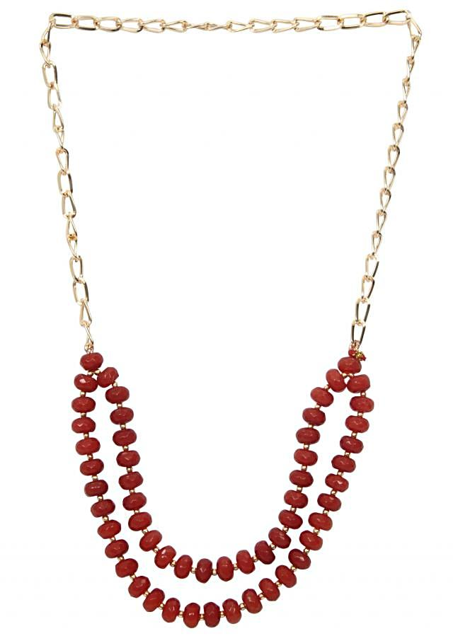 Red beads front with gold chain only on Kalki