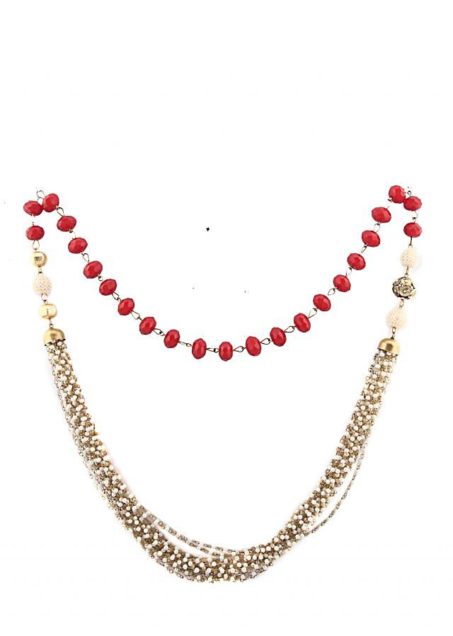 Red beads strung with lines of pearls and chain with a broach only on Kalki
