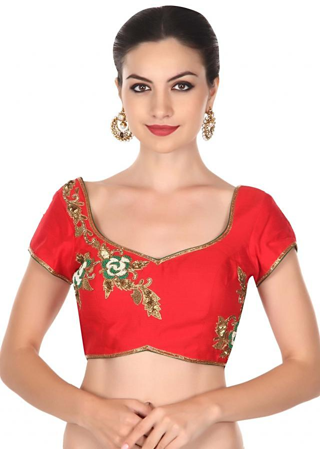 Red blouse adorn in rose motif embroidery only on Kalki