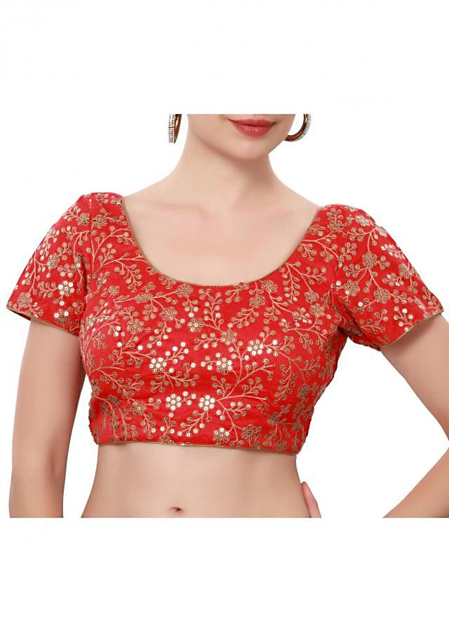Red blouse embellished in thread and sequin only on Kalki