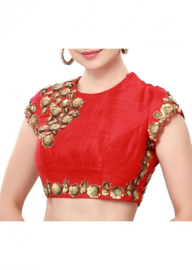 Red blouse enhanced in sequin embroidery only on Kalki