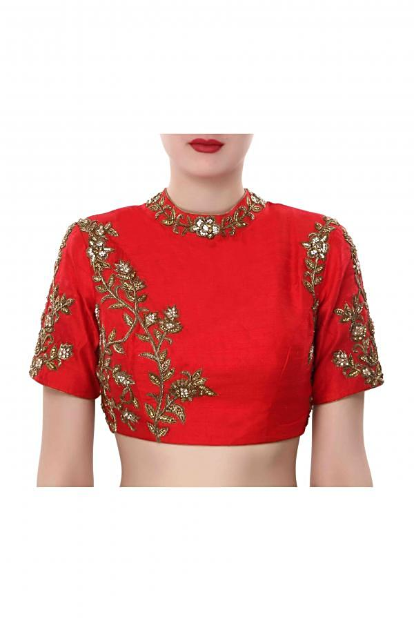 Red blouse features with embroidered collar only on Kalki