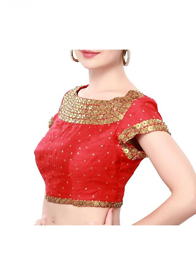 Red blouse featuring in sequin embroidery only on Kalki