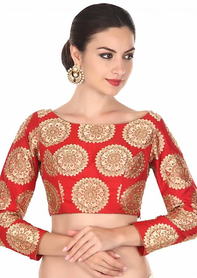 Red brocade blouse in moti embroidery only on Kalki