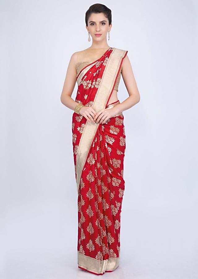 Red brocade silk saree in floral butti and golden border only on kalki