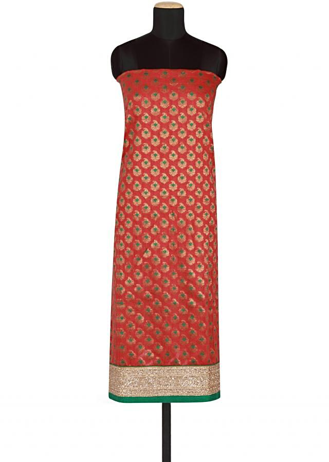 Red brocade silk un-stitched salwar-kameez embellished in zardosi and resham only on Kalki
