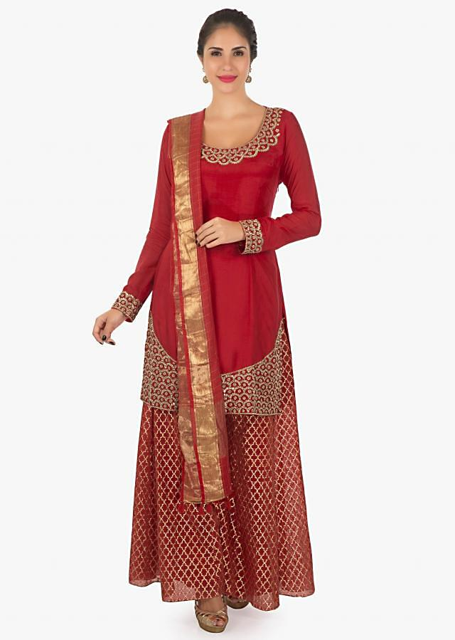 Red chanderi cotton kurti    matched with brocade  palazzo and a red dupatta  only on kalki