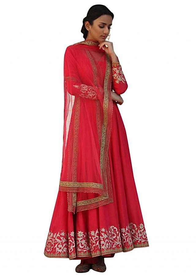 Red chanderi silk anarkali suit in resham embroidery