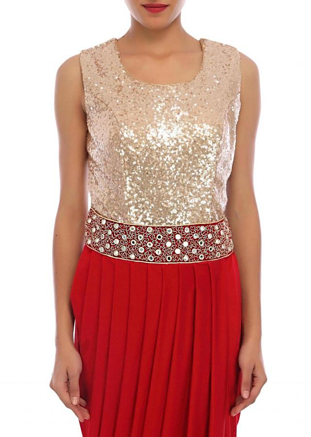Red cowl drape suit featuring in sequin embroidery only on Kalki