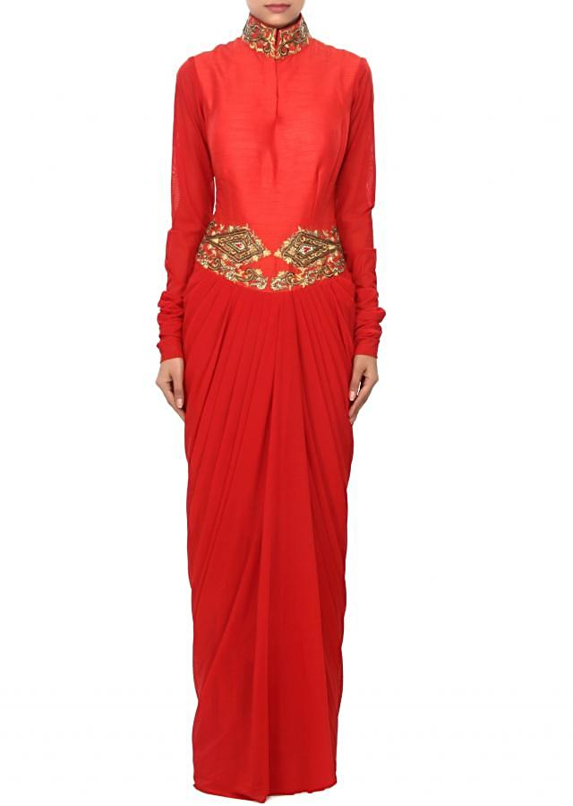 Red dress enhanced in zari and cowl drape only on Kalki