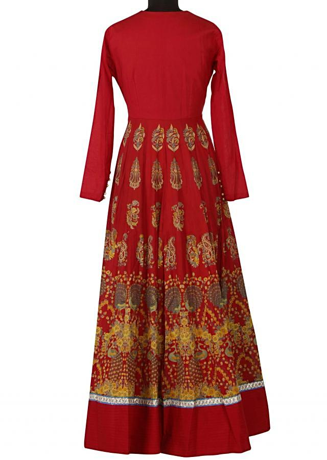 Red dress features with embroidered bodice only on Kalki