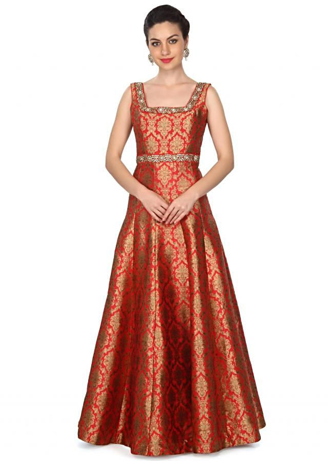Red dress features with embroidered neckline only on Kalki