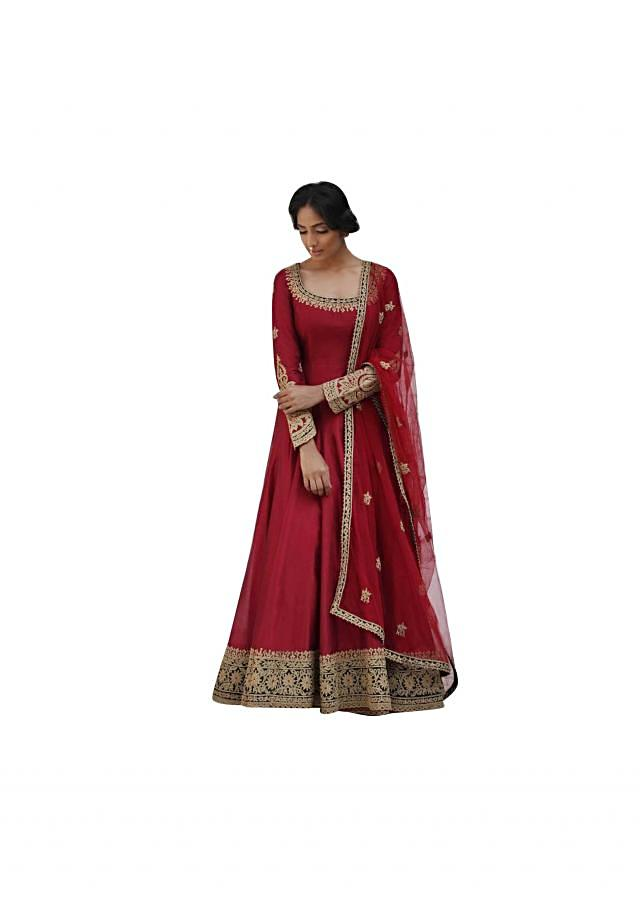 Red embroidered anarkali suit in chanderi silk