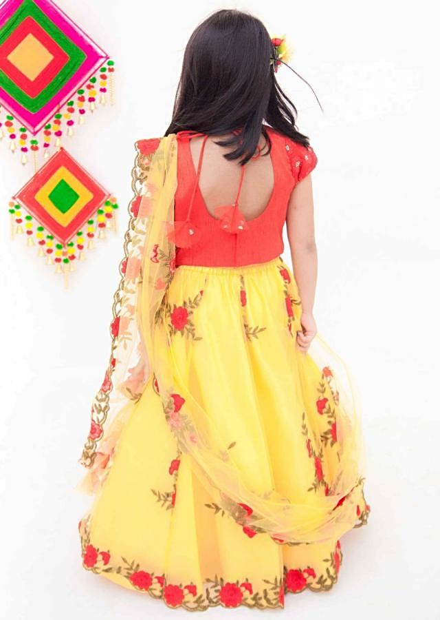 Red Embroidery Choli with Yellow Embroidery Lehenga by Fayon Kids