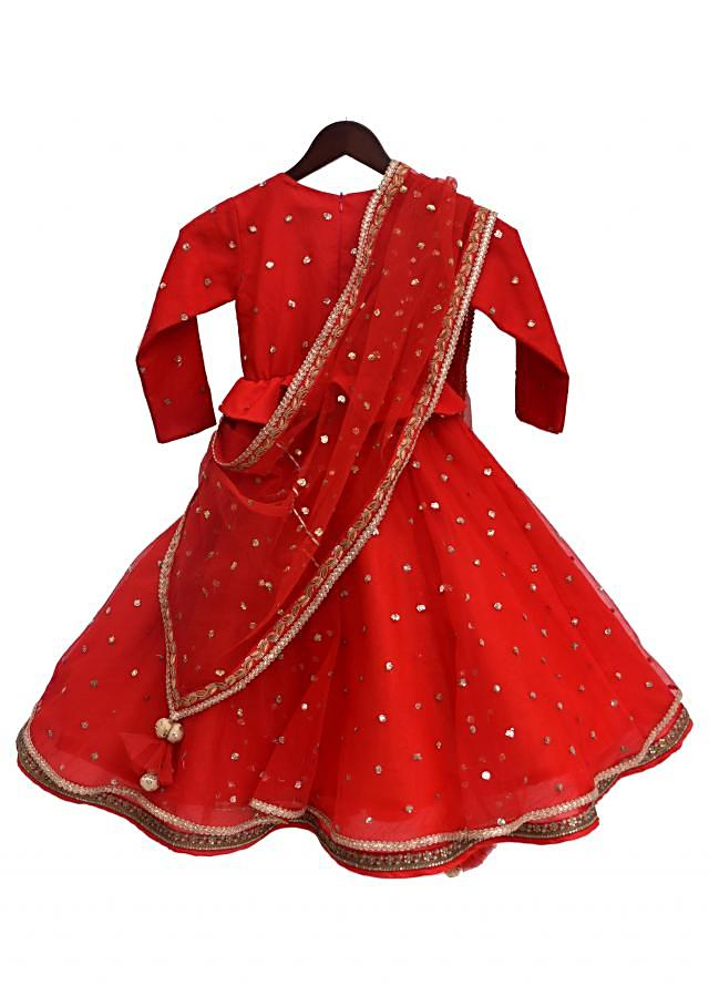 Red Embroidery Peplum Choli with Embroidery Lehenga by Fayon Kids