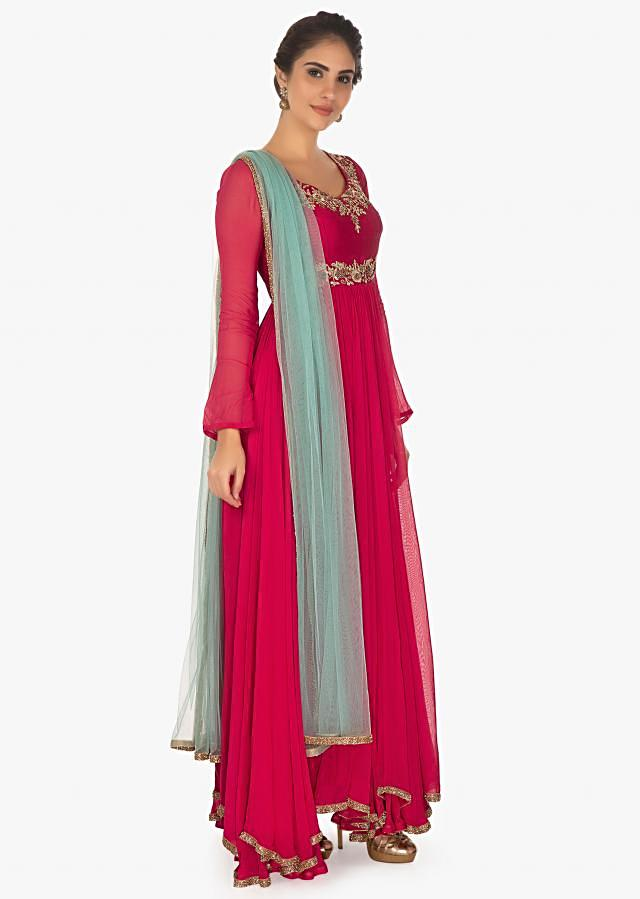 Red Anarkali In Georgette With Lycra Churidar And Contrasting Blue Net Dupatta Online - Kalki Fashion