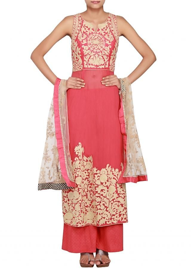 Red georgette and silk a-line suit embellished in thread work only on Kalki