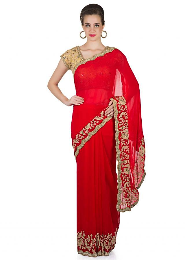 Red Georgette Saree and Beige Silk Blouse with Thread Work, Beads and Kundan only on Kalki