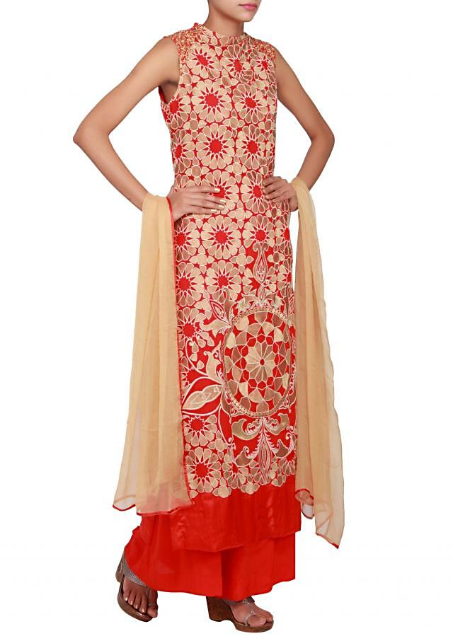 Red georgette straight cut salwar kameez embellished in resham work only on Kalki